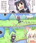 :x animal_ears black_hair blonde_hair bow bowtie cerulean_(kemono_friends) comic common_raccoon_(kemono_friends) fang fennec_(kemono_friends) fox_ears fox_tail japari_bun kemomix kemono_friends multicolored_hair multiple_girls open_mouth raccoon_ears raccoon_tail short_hair short_sleeves skirt tail translation_request washing
