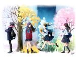 4girls backpack bag bare_tree black_hair black_legwear blue_sky brown_hair clouds flower hair_ornament hairclip kazuharu_kina kneehighs long_hair multiple_girls original pantyhose pleated_skirt ponytail school_bag school_uniform seasons serafuku skirt sky snow socks sunflower tree white_legwear