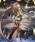 1girl artist_request blue_eyes brown_hair cygames deadmoon_disciple headdress holding holding_weapon kneehighs lantern long_hair looking_at_viewer looking_back official_art shadowverse shingeki_no_bahamut water weapon