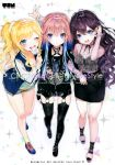 3girls :3 :d :o absurdres adidas ahoge animal_print ankle_socks arm_above_head arm_up artist_name bangs bare_legs belt belt_boots belt_over_clothes black_boots black_choker black_jacket black_legwear black_ribbon black_skirt blonde_hair blouse blue_eyes blue_hair blue_jacket blush boots bottomless brand_name_imitation breasts brown_hair buckle butterfly_print buttons camisole candy choker cleavage collarbone comiket comiket_91 commentary_request copyright_name cover cover_page cross cross_print curly_hair cutoffs denim denim_shorts doujin_cover earrings eating english eyebrows_visible_through_hair eyelashes eyes_visible_through_hair fingernails fishnets food frilled_blouse frilled_sleeves frills from_above full_body fur fur-trimmed_jacket fur_trim garter_belt girl_sandwich glint gluteal_fold hair_between_eyes hair_intakes hair_ornament hair_scrunchie hair_tucking hand_in_pocket harness high_ponytail highres holding holding_food hood hooded_jacket hoyashi_rebirth ichinose_shiki idolmaster idolmaster_cinderella_girls jacket jewelry knee_boots lace lace-trimmed_garter_belt leaning_forward leather leather_boots legs letterman_jacket licking light_brown_hair locked_arms lollipop long_fingernails long_hair long_sleeves looking_at_viewer looking_up medium_breasts multicolored multicolored_hair multicolored_nail_polish multicolored_shoes multiple_girls nail_polish ninomiya_asuka o-ring o-ring_belt o-ring_legwear one_eye_closed ootsuki_yui open_blouse open_clothes open_jacket open_mouth open_toe_shoes patterned_background pencil_skirt pink_blouse pocket pom_pom_(clothes) pom_pom_earrings ponytail rainbow_text raised_eyebrows ribbon ribbon_choker sandwiched scan scrunchie see-through sharp_fingernails shiny shiny_clothes shiny_hair shiny_skin shoes short_hair_with_long_locks short_shorts shorts sidelocks simple_background skeleton_print skindentation skirt sleeveless small_breasts smile sneakers socks spaghetti_strap sparkle standing star star_print streaked_hair striped stri