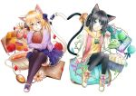 2girls animal_ears ankle_boots black_hair black_legwear blonde_hair blue_eyes blue_skirt book book_hug boots candy cardigan cat_ears cat_tail cellphone checkerboard_cookie cookie cross-laced_footwear cup cupcake daisy flower food green_eyes hair_ornament hair_ribbon head_tilt heart_tail_duo hexagram highres holding holding_book jelly_bean jewelry light_smile long_hair macaron mary_janes multiple_girls necklace open_book original pantyhose paw_pose petals phone red_rose ribbon rose rose_petals routo_(rot_0) shoes short_hair simple_background skirt sleeves_past_wrists smartphone star star_hair_ornament tail tail_ribbon teacup thigh-highs white_background yellow_hoodie