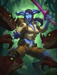1girl absurdres backpack bag belt blue_lips blue_sclera blue_skin breasts cornered_sentry digitigrade dinosaur draenei glowing glowing_eyes green_sclera hearthstone highres horns jomaro_kindred jungle long_hair looking_at_viewer medium_breasts midriff nature navel official_art open_mouth ponytail purple_hair raptor sharp_teeth shorts solo sword tail teeth warcraft weapon white_pupils world_of_warcraft