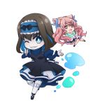 2girls black_hair blue_hair chibi doll_joints garie_tuman grin headdress index_finger_raised kiraki layered_skirt long_hair maria_cadenzavna_eve multicolored_hair multiple_girls open_mouth pink_hair senki_zesshou_symphogear sharp_teeth smile teeth two-tone_hair water
