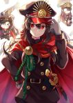 1girl adjusting_clothes adjusting_hat black_clothes black_hair cape chibi deformed demon_archer fate_(series) gloves hair_between_eyes hair_over_shoulder hand_on_hip hat highres katana long_hair looking_at_viewer military military_uniform nonono open_mouth peaked_cap red_eyes sheath sheathed sidelocks sword uniform weapon white_gloves