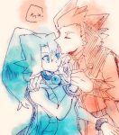 1boy 1girl blue_eyes blue_hair closed_eyes forehead_kiss hand_holding ibuki_(pokemon) kiss long_hair monochrome pokemon pokemon_(game) pokemon_hgss ponytail redhead short_hair sound_effects wataru_(pokemon)