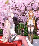 2girls :o animal_print aqua_eyes architecture arms_up bangs blonde_hair blurry boots bow bowtie bunny_print camera cardigan cherry_blossoms cross-laced_footwear depth_of_field dress east_asian_architecture flower hair_between_eyes hair_flower hair_ornament holding hood hood_down kawazu knee_boots lavender_hair long_hair long_sleeves looking_up mismatched_legwear multiple_girls open_mouth outdoors pantyhose park petals pleated_skirt profile school_uniform serafuku short_hair_with_long_locks sidelocks sitting skirt standing striped striped_legwear taking_picture thigh-highs tsurumaki_maki very_long_hair violet_eyes vocaloid voiceroid yellow_bow yellow_bowtie yuzuki_yukari yuzuki_yukari_(onn) yuzuki_yukari_(vocaloid4) zettai_ryouiki