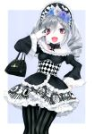 1girl :d absurdres bag blue_rose checkered drill_hair flower frills gothic_lolita grey_hair handbag headband highres hoyashi_rebirth idolmaster idolmaster_cinderella_girls kanzaki_ranko lolita_fashion looking_at_viewer open_mouth pantyhose red_eyes rose scan silver_hair smile solo striped striped_legwear twin_drills twintails vertical-striped_legwear vertical_stripes