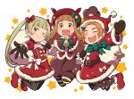 >:d 3girls :d bangs bell belt belt_buckle black_gloves black_mittens blonde_hair blunt_bangs bow bowtie brown_hair brown_shorts buckle capelet choker christmas closed_eyes dress eyebrows gloves green_bow green_bowtie hair_bow hair_ornament hairclip hat hat_bow holding ichihara_nina idolmaster idolmaster_cinderella_girls long_hair mittens multiple_girls one_eye_closed open_mouth orange_eyes orange_hair outstretched_arm outstretched_hand pantyhose red_bow red_bowtie red_dress red_shoes ryuuzaki_kaoru sack santa_hat shoes short_hair shorts simple_background smile sparkle star star_print starry_background striped striped_legwear teeth thick_eyebrows torn_sack twintails white_bow white_bowtie yellow_eyes yokoyama_chika