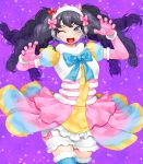 >;d 1girl ;d black_eyes black_hair bloomers blue_bow blue_legwear blush bow claw_pose cowboy_shot fangs floating_hair fur_trim garuru_(pripara) gloves happa_(cloverppd) headphones highres horn_bow horns long_hair looking_at_viewer multicolored multicolored_clothes multicolored_skirt musical_note musical_note_print one_eye_closed open_mouth pink_bow pink_gloves pripara puffy_short_sleeves puffy_sleeves purple_background red_bow short_sleeves skirt smile solo thigh-highs treble_clef underwear