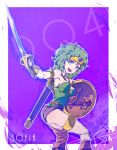 1girl asymmetrical_clothes bare_shoulders blue_eyes boots breasts circlet curly_hair dragon_quest dragon_quest_iv gloves green_hair heroine_(dq4) looking_at_viewer looking_back medium_breasts open_mouth shield smile solo standing sword tamago_tomato weapon
