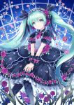 1girl aqua_eyes aqua_hair ascot bangs black_dress commentary_request dress eyebrows_visible_through_hair flower frilled_dress frilled_hairband frilled_sleeves frills hair_flower hair_ornament hair_ribbon hairband hatsune_miku knees_together_feet_apart kona_(canaria) leaf long_hair looking_at_viewer nail_polish own_hands_together pantyhose puffy_short_sleeves puffy_sleeves ribbon scrunchie short_sleeves smile solo twintails vocaloid wrist_scrunchie