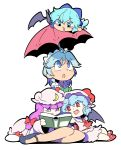 4girls :d :o ahoge bangs blue_bow blue_eyes blue_hair blue_shoes blunt_bangs book bow braid cirno colored_eyelashes dress eyebrows_visible_through_hair fang frilled_hat frills green_bow hair_between_eyes hair_bow hair_ribbon hat hat_ribbon headdress highres ice ice_wings izayoi_sakuya long_hair looking_down looking_up mob_cap moyazou_(kitaguni_moyashi_seizoujo) multiple_girls open_mouth patchouli_knowledge pointy_ears purple_hair reading red_bow red_eyes red_ribbon red_shoes red_umbrella remilia_scarlet ribbon shirt shoes short_hair simple_background sitting skirt smile touhou tress_ribbon twin_braids umbrella violet_eyes white_background white_dress white_hat white_shirt white_skirt wide_sleeves wings yokozuwari