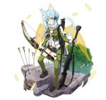 1girl animal_ears arrow belt black_gloves black_shorts blue_eyes blue_hair bow_(weapon) breasts bullet cat_ears cat_tail cleavage fingerless_gloves full_body gloves green_jacket green_legwear gun hair_ornament hairclip heart holding holding_gun holding_weapon jacket leotard looking_at_viewer pgm_hecate_ii rifle scarf shinon_(sao) shinon_(sao-alo) short_hair_with_long_locks short_shorts shorts sidelocks simple_background small_breasts smile sniper_rifle solo standing sword_art_online tail thigh_strap transparent transparent_wings tree weapon white_background white_scarf wings zipper