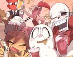 9999gpera alphys androgynous bird blue_skin blush bow bowtie brown_hair closed_eyes cup drooling duck eyepatch fire frisk_(undertale) g_perarikku ghost glasses gloves grillby grin head_fins hood hoodie long_sleeves milk_carton monster_girl multiple_boys multiple_girls napstablook one_eye_closed open_mouth papyrus_(undertale) ponytail redhead sans sharp_teeth shirt skeleton sleeping smile striped striped_shirt sweatdrop tank_top teeth undertale undyne yellow_skin zzz