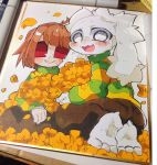 1boy 9999gpera :d androgynous asriel_dreemurr barefoot blush blush_stickers brown_hair brown_pants chara_(undertale) flower fluffy g_perarikku highres kneeling monster_boy open_mouth pants red_eyes shikishi short_hair smile striped striped_sweater sweater traditional_media undertale white_eyes
