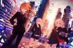 3girls ahoge bangs belt black_dress black_shorts blonde_hair blurry camisole city closed_mouth coat depth_of_field dress enj! eyebrows_visible_through_hair fate/grand_order fate_(series) floating_hair formal fujimaru_ritsuka_(female) fur_coat hand_on_hip jacket jeanne_alter jewelry long_hair looking_at_viewer multiple_girls necklace open_clothes open_coat open_jacket open_mouth orange_eyes orange_hair outdoors ponytail rooftop ruler_(fate/apocrypha) saber saber_alter short_dress short_hair short_shorts shorts smile suit wind yellow_eyes