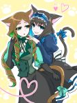 2girls :o animal_ears black_gloves black_hair black_lipstick blue_eyes blue_hair bow bowtie brown_hair cat_ears cat_tail eyeshadow female garie_tuman gloves green_bow green_eyes green_hair grin hand_on_another's_shoulder headdress heart highres kemonomimi_mode kiraki lipstick long_hair looking_at_another looking_at_viewer makeup multicolored_hair multiple_girls open_mouth paw_print phara_suyuf senki_zesshou_symphogear sharp_teeth short_hair smile striped striped_bow tail tail_bow teeth two-tone_hair yuri