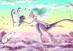 1girl ai2 ai_(pokemon) alternate_color blue_eyes butterfree child cityscape dress floating green_hair highres mewtwo pokemon pokemon_(anime) pokemon_(creature) shiny_pokemon sunrise wataametulip white_dress
