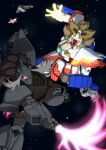 antlers beam_saber energy_gun g_gundam gelgoog gundam highres kemono_friends koutarou_(plusdrive) lion_(kemono_friends) mecha moose_(kemono_friends) robot science_fiction shining_gundam space variable_fighter weapon