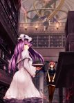 3girls ass bangs black_legwear black_wings blue_ribbon book bookshelf breasts capelet demon_tail demon_wings dual_persona fire hat hat_ribbon head_wings highres holding holding_book indoors koakuma large_breasts library long_hair long_sleeves looking_at_viewer mob_cap mop multiple_girls patchouli_knowledge pencil_skirt purple_hair red_eyes red_ribbon redhead ribbon short_sleeves sinkai skirt smile standing tail thigh-highs torch touhou tray violet_eyes wide_sleeves wings