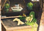 1girl artist_name breasts brick_wall brown_eyes commentary_request creeper dirt fountain green_hair hair_censor hair_over_one_eye lansane long_hair monster_girl original plant plant_girl planter sidelocks signature sitting small_breasts smile solo topless vines watering_can window