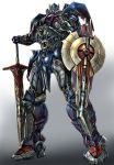 1boy autobot blue_eyes energy_sword full_body glowing glowing_eyes grey_background headgear holding holding_sword holding_weapon huge_weapon kamizono_(spookyhouse) knight looking_at_viewer machine machinery mecha mechanical_sword no_humans optimus_prime personification robot shield solo sword transformers weapon