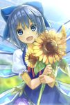 1girl :d blue_dress blue_eyes blue_hair bow cirno dress fang flower hair_bow hidden_star_in_four_seasons ice ice_wings looking_at_viewer minutachi open_mouth puffy_short_sleeves puffy_sleeves short_hair short_sleeves smile solo sunflower touhou wings