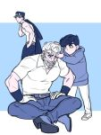 3boys adjusting_another's_hair beard belt facial_hair father_and_son gloves grandfather_and_grandson hand_in_another's_hair hand_in_pocket hands_on_thighs hat higashikata_jousuke hood hoodie indian_style jacket_over_shoulder jojo_no_kimyou_na_bouken joseph_joestar kuujou_joutarou legs_crossed looking_at_another male_focus monochrome multiple_boys pants pompadour reammara shoes short_hair sitting sneakers standing white_gloves white_hair wristband younger