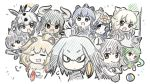 6+girls :d :o =3 african_porcupine_(kemono_friends) animal_ears antlers appleq arabian_oryx_(kemono_friends) armor arms_up aurochs_(kemono_friends) ball black_hair blonde_hair blue_hair breast_pocket brown_eyes character_request chibi closed_eyes crossed_arms dark_skin expressionless eyebrows eyebrows_visible_through_hair giant_armadillo_(kemono_friends) green_hair grey_hair highres horns japanese_black_bear_(kemono_friends) kemono_friends lion_(kemono_friends) lion_(zhan_jian_shao_nyu) lion_ears long_hair looking_at_viewer low_ponytail moose_(kemono_friends) moose_ears multicolored_hair multiple_girls necktie open_mouth panther_chameleon_(kemono_friends) pocket red_eyes shirt shoebill_(kemono_friends) side_ponytail smile white_rhinoceros_(kemono_friends) yellow_eyes