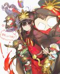 1boy 6+girls black_hair cape carrying_under_arm chibi demon_archer fate/grand_order fate_(series) gatling_gun gun hat holding holding_weapon katana keikenchi_(style) koha-ace long_hair military military_uniform multiple_girls namie-kun oda_nobukatsu_(fate/grand_order) one_eye_covered red_eyes rifle sakura_saber shinsengumi smile sword translated uniform weapon