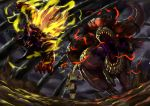 absurdres ambiguous_gender armor beetle blonde_hair brave_(armor) claws daji_yaozi dark_clouds deviljho flying from_behind full_armor fur glowing glowing_eyes highres holding holding_weapon horns insect_glaive jaw jumping long_hair monkey monster monster_hunter monster_hunter_4 open_mouth polearm rajang red_eyes savage_deviljho sharp_teeth tail teeth tyrannosaurus_rex walking weapon wyvern