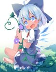 1girl :d barefoot blue_bow blue_dress blue_eyes blue_hair blush bow cirno dress fairy_wings fang flower grass hair_bow hidden_star_in_four_seasons highres ice ice_wings looking_at_viewer makuran open_mouth plant short_hair short_sleeves sitting smile solo tan touhou vines wings