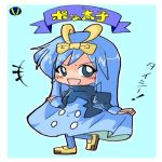 >:d 1girl :d bangs blue blue_eyes blue_hair blue_legwear bow breasts buttons character_name chibi commentary_request dress dress_lift eyebrows_visible_through_hair eyelashes furigana hair_between_eyes hair_bow leg_up long_hair long_sleeves looking_away looking_to_the_side lowres mamecho_(ageatcosh) medium_breasts multicolored multicolored_clothes multicolored_dress no_nose open_mouth pantyhose partially_translated personification pokemon pokemon_(game) pokemon_dppt prinplup puffy_long_sleeves puffy_sleeves shoes sleeves_past_wrists smile solo standing standing_on_one_leg text tongue translated turtleneck yellow_bow yellow_shoes