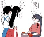 /\/\/\ 3girls akagi_(kantai_collection) bangs black_hair blue_hair blush flying_sweatdrops from_behind houshou_(kantai_collection) japanese_clothes kaga_(kantai_collection) kantai_collection long_hair multiple_girls oven_mitts ponytail pot side_ponytail smile straight_hair sweatdrop swept_bangs tasuki translated yoichi_(umagoya)