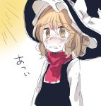 1girl @_@ blonde_hair blush commentary d: hat hidden_star_in_four_seasons hot iiha_toobu kirisame_marisa long_hair open_mouth scarf solo sweat sweating_profusely touhou translated vest witch_hat