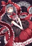1girl alternate_color bangs black_dress breasts dress elbow_gloves frilled_dress frilled_ribbon frills front_ponytail gloves green_hair hair_ribbon hands_together highres kagiyama_hina kanzakietc layered_dress patterned_background red_dress red_eyes reflective_eyes ribbon sad shiny shiny_hair shirt small_breasts solo touhou transparent white_gloves white_shirt