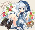 1girl apron bandanna basket black_boots blue_bandana blue_eyes boots character_name commentary_request cross-laced_footwear cyrillic dress food frills fruit hammer_and_sickle hibiki_(kantai_collection) highres hizuki_yayoi kantai_collection lace-up_boots long_hair russian russian_clothes silver_hair socks solo star strawberry translated underskirt verniy_(kantai_collection) white_apron white_legwear