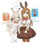 2girls ;3 animal_ears ankle_boots arm_at_side arrow bangs beige_outline blonde_hair blush boots bow bowtie breasts brown_boots brown_eyes brown_footwear brown_hair brown_legwear brown_shoes brown_skirt bunny_tail buttons character_name chibi clenched_hand clenched_hands coat collar cowboy_shot cropped_legs dot_nose double_v easter european_hare_(kemono_friends) eyebrow_twitching eyebrows_visible_through_hair eyelashes fingernails frilled_shirt frilled_skirt frills full_body fur-trimmed_legwear fur-trimmed_sleeves fur_collar fur_trim gloves gradient_hair hair_over_one_eye hand_on_own_arm hand_on_own_chest hand_up hands_up height_difference high-waist_skirt highres japari_symbol jitome kemono_friends knees_together_feet_apart knees_touching large_breasts long_hair long_sleeves looking_at_viewer mary_janes mountain_hare_(kemono_friends) multicolored multicolored_clothes multicolored_gloves multicolored_hair multiple_girls neck_ribbon one_eye_closed open_mouth outline pantyhose paw_background pink_ribbon pleated_skirt rabbit_ears red_bow red_bowtie red_eyes reference_work ribbon shirt shoe_ribbon shoes short_hair short_sleeves sidelocks simple_background sketch skirt smile smug spawnfoxy standing swept_bangs tail tareme thigh-highs v white_background white_hair white_legwear white_shirt white_skirt yoshizaki_mine zettai_ryouiki