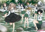 6+girls bare_legs barefoot black_hair black_hairband black_skirt bow bowtie brown_eyes brown_hair casual feet fish girls_und_panzer glasses hairband highres layered_skirt light_brown_hair long_hair long_sleeves maruyama_saki multiple_girls ooarai_school_uniform oono_aya river rock sakaguchi_karina sawa_azusa shimada_arisu shirt short_hair side_ponytail skirt socks suspender_skirt suspenders twintails utsugi_yuuki water_gun white_shirt yamagou_ayumi