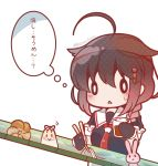 0_0 1girl ahoge bamboo black_hair black_serafuku bloom2425 braid chibi chopsticks doughnut food french_cruller hair_flaps hair_ornament kantai_collection long_hair nagashi_soumen neckerchief noodles rabbit remodel_(kantai_collection) school_uniform serafuku shigure_(kantai_collection) simple_background single_braid soumen sweatdrop the_yuudachi-like_creature translated white_background