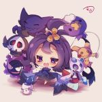 1girl :3 acerola_(pokemon) chibi dress drifloon duskull elite_four flipped_hair froslass gastly hair_ornament haunter litwick mimikyu muuran open_mouth pokemon pokemon_(creature) pokemon_(game) pokemon_sm purple_hair short_hair topknot torn_clothes torn_dress trial_captain violet_eyes