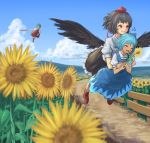 3girls ^_^ bangs black_hair black_skirt black_wings blue_dress blue_hair blue_sky carrying chasing cirno clenched_teeth closed_eyes closed_umbrella clouds collared_shirt day dirt dress faceless fence fleeing flower flying flying_sweatdrops frilled_skirt frills garden_of_the_sun geta green_hair hair_blue happy hat hidden_star_in_four_seasons highres holding holding_flower holding_umbrella hug hug_from_behind kazami_yuuka long_skirt mountain multiple_girls parasol path puffy_short_sleeves puffy_sleeves red_eyes red_shoes red_skirt red_vest ribbon road roke_(taikodon) shameimaru_aya shirt shoes short_sleeves silhouette skirt sky tan teeth tengu-geta tokin_hat touhou umbrella vanishing_point vest white_shirt wings wooden_fence