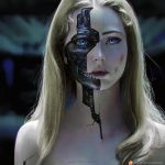 1girl android bare_shoulders blonde_hair blood blue_eyes blurry blurry_background bruise depth_of_field dolores_abernathy expressionless eyeshadow highres injury lips lipstick long_hair looking_at_viewer makeup mascara oliver_wetter parts_exposed patreon_username pink_lipstick signature solo teeth upper_body watermark web_address westworld