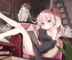 1girl bird book brown_eyes brown_hair chair cup hair_in_mouth legs long_hair mouth_hold no_pants off_shoulder original owl reading shirt shuuichi_(gothics) sitting teacup teapot twintails two_side_up