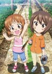 2girls brown_eyes brown_hair bucket crayfish dirty fishing_rod girls_und_panzer highres multiple_girls nishizumi_maho nishizumi_miho popsicle_stick short_hair siblings sisters sugimoto_isao tank_top younger
