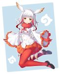 1girl black_shoes blue_background blush breasts crested_ibis_(kemono_friends) eyebrows_visible_through_hair frilled_sleeves frills from_side full_body gloves head_tilt head_wings highres japanese_crested_ibis_(kemono_friends) japari_symbol kemono_friends kuta_(shi_cai) legs_up long_hair long_sleeves looking_at_viewer mary_janes medium_breasts multicolored_hair open_mouth orange_skirt pantyhose pleated_skirt red_gloves red_legwear redhead shirt shoes skirt solo two-tone_hair white_hair white_shirt wide_sleeves yellow_eyes