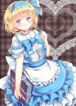 1girl alice_margatroid alice_margatroid_(pc-98) apron blonde_hair blue_eyes blue_skirt blush book choker frilled_apron frilled_hairband frills grey_background hairband hand_up head_tilt highres holding holding_book kanzakietc looking_at_viewer plaid plaid_background reflective_eyes shiny shiny_hair shirt short_hair short_sleeves skirt smile solo suspender_skirt suspenders touhou touhou_(pc-98) waist_apron white_shirt