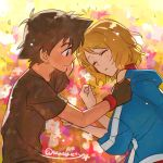 1boy 1girl black_hair brown_eyes brown_hair couple fingerless_gloves gloves hetero jacket kanimaru pokemon pokemon_(anime) pokemon_xy_(anime) satoshi_(pokemon) serena_(pokemon) short_hair