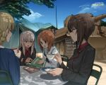 4girls black_jacket blonde_hair book braid brown_eyes brown_hair cup darjeeling girls_und_panzer ground_vehicle highres itsumi_erika jacket kuromorimine_military_uniform long_hair military military_vehicle motor_vehicle multiple_girls nishizumi_maho nishizumi_miho ooarai_school_uniform red_shirt shirt short_hair silver_hair tank teacup tent tiger_i twin_braids