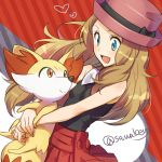 1girl :d bare_arms bare_shoulders black_ribbon black_shirt blonde_hair blue_eyes blush breasts brown_hair closed_mouth collared_shirt fennekin hat hat_ribbon heart holding kanimaru long_hair looking_at_another looking_down looking_up open_mouth orange_eyes pink_hat pleated_skirt pokemon pokemon_(anime) pokemon_(creature) pokemon_xy_(anime) red_skirt ribbon serena_(pokemon) shiny shiny_hair shirt skirt sleeveless sleeveless_shirt small_breasts smile striped striped_background twitter_username